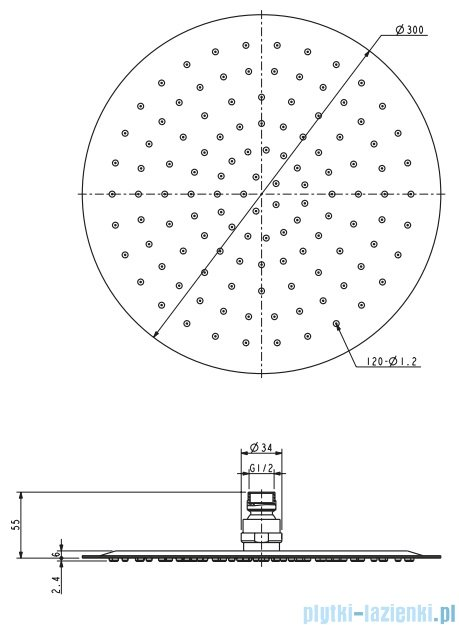 Omnires Ultra Slimline deszczownica ze stali nierdzewnej ø 30cm chrom WGU130
