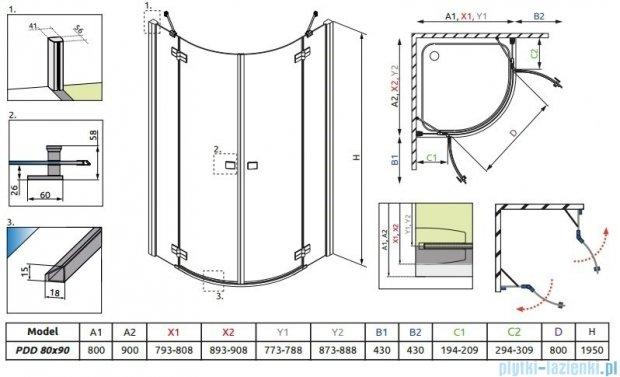 Radaway Almatea PDD E Kabina półokrągła 90x80 szkło grafitowe 30532-01-05N