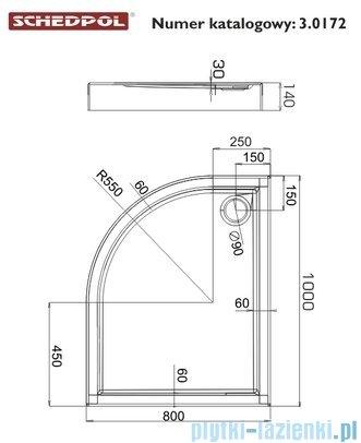 Schedpol Competia Brodzik asymetryczny prawy z nośnikiem 80x100x14cm 3.0172