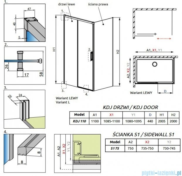 Radaway Idea Kdj kabina 110x75cm lewa szkło przejrzyste 387041-01-01L/387049-01-01R