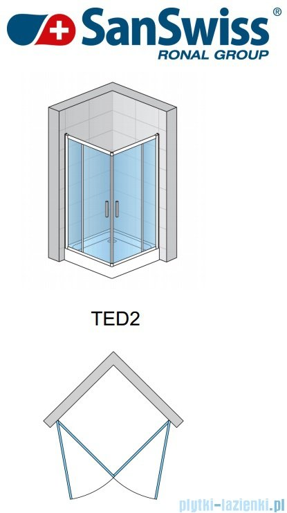 SanSwiss Top-Line Ted2 Wejście narożne 90cm profil srebrny Prawe TED2D09000107