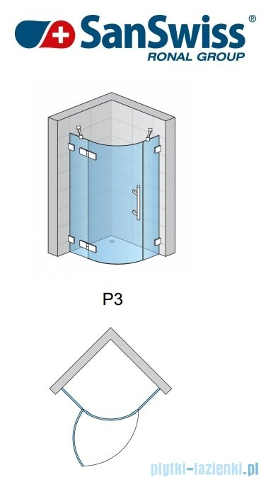 SanSwiss Pur PU4P Kabina półokrągła 90cm profil chrom szkło Krople PU4P500901044