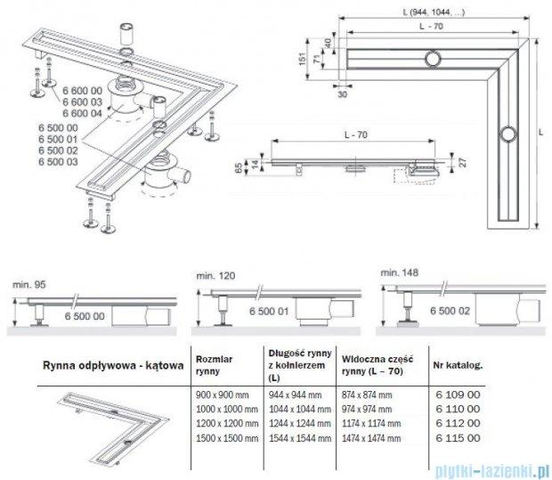 Tece Rynna odpływowa Tecedrainline-kątowa 90x90cm 6.109.00