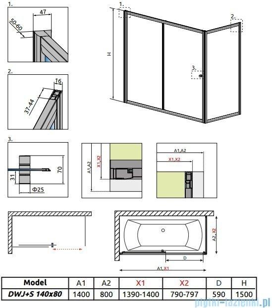 Radaway Vesta Dwj+s parawan nawannowy 140x80cm szkło fabric 209114-01-06/204080-06