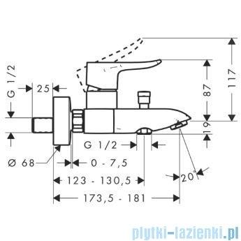 Hansgrohe Metris Jednouchwytowa bateria wannowa DN15 montaż natynkowy 31480000