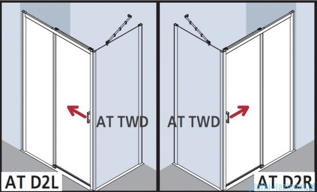 Kermi Atea Drzwi przesuwne bez progu, lewe, szkło przezroczyste KermiClean, profile białe 100x185 ATD2L100182PK