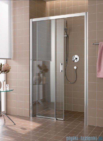 Kermi Atea Drzwi przesuwne bez progu, lewe, szkło przezroczyste KermiClean, profile srebrne 150x185 ATD2L15018VPK