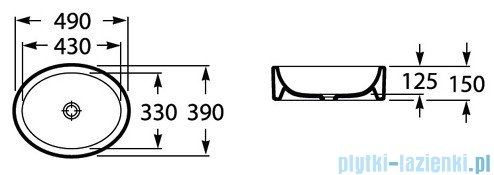 Roca Fuego Umywalka nablatowa 49x39cm owalna biała A32722E000