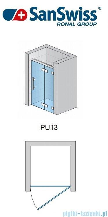 SanSwiss Pur PU13 Drzwi 1-częściowe wymiar specjalny profil chrom szkło Satyna Prawe PU13DSM21049