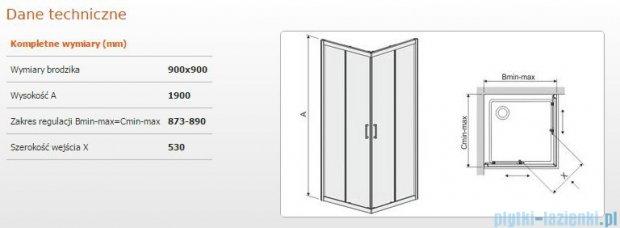 Sanplast kabina narożna kwadratowa KN/TX4-90 szkło: Sitodruk W14 600-271-0030-38-220