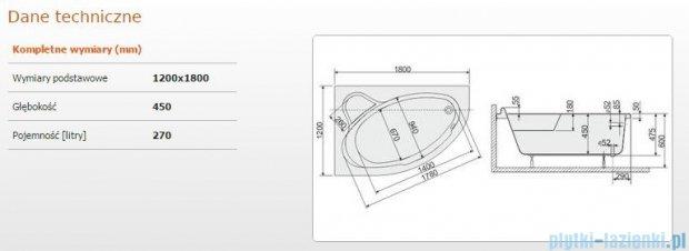 Sanplast Comfort Wanna asymetryczna lewa+stelaż WAL/CO 180x120+ST6 610-060-0540-01-000
