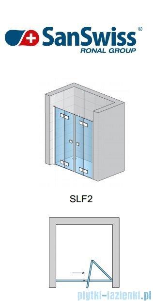 SanSwiss Swing Line F SLF2 Wejście narożne z drzwiami 100cm profil srebrny Prawe SLF2D10000107