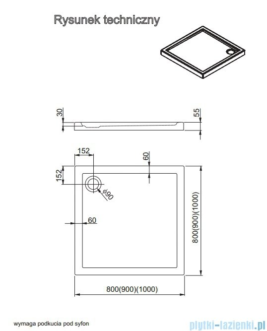 Aquaform Vico brodzik kwadratowy superniski 90x90cm 201-08005