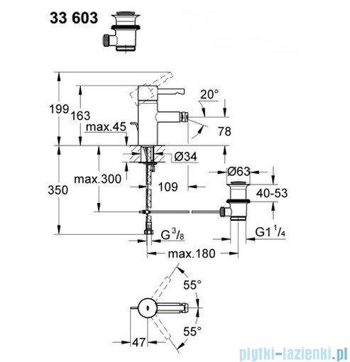 Grohe Essence jednouchwytowa bateria bidetowa DN 15 wysoka 33603000