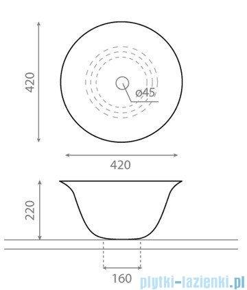 Bathco Nordic umywalka nablatowa 42cm 4062