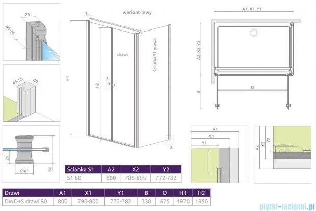 Radaway Eos II DWD+S kabina 80x80 lewa szkło przejrzyste 3799490-01/33799410-01R