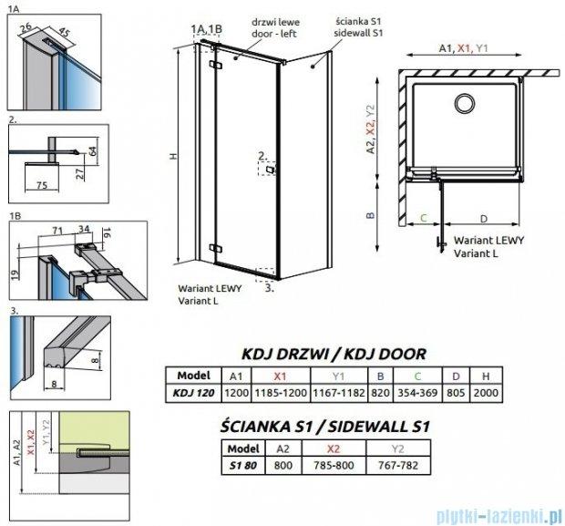 Radaway Fuenta New Kdj kabina 120x80cm lewa szkło przejrzyste 384042-01-01L/384051-01-01
