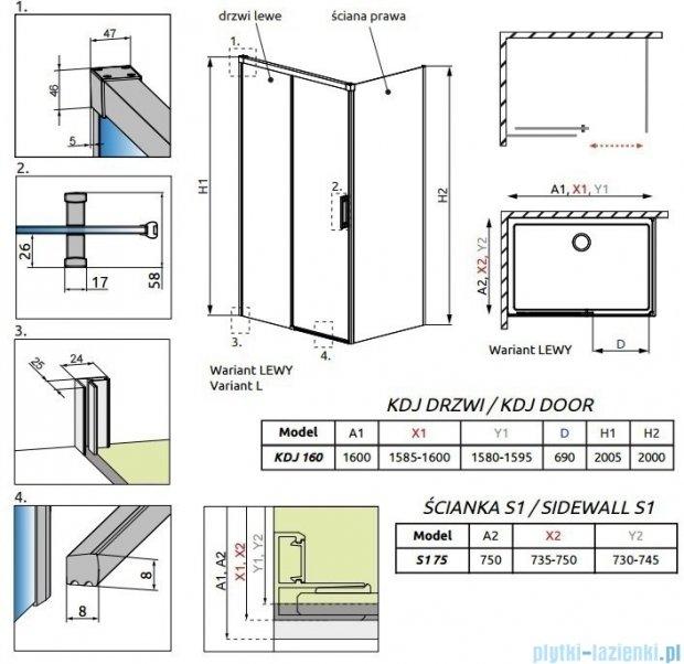 Radaway Idea Kdj kabina 160x75cm lewa szkło przejrzyste 387046-01-01L/387049-01-01R