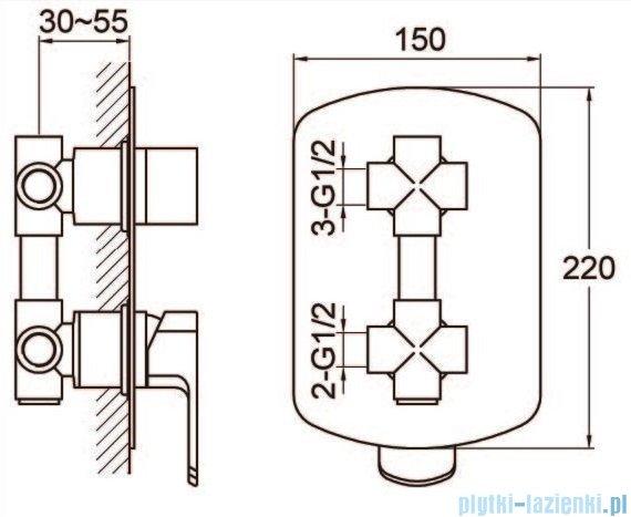 Kohlman Foxal zestaw wannowo-prysznicowy chrom QW211FR35-009