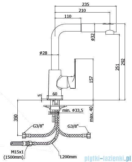 Paffoni  Bateria kuchenna dwustrumieniowa SLY chrom SY285CR