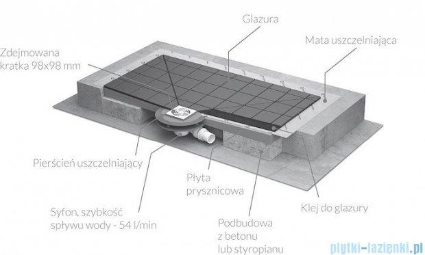 Radaway prostokątny brodzik podpłytkowy z kratką odpływową 139x89cm 5DK1409,5K01,5SK1