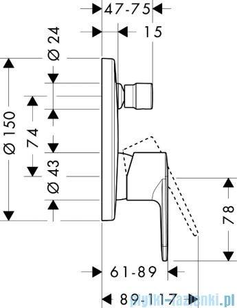 Hansgrohe Talis E² Jednouchwytowa bateria wannowa montaż podtynkowy 31645000