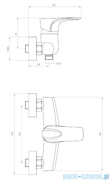 Deante Gardenia bateria natryskowa bez kompletu natryskowego chrom BEG 040M