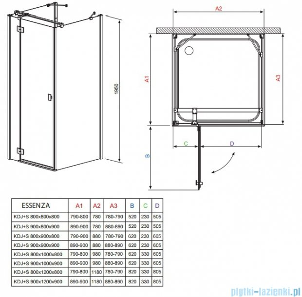 Radaway Essenza KDJ+S kabina 80x100x80 prawa szkło przejrzyste + Brodzik Doros D + syfon 32942-01-01R