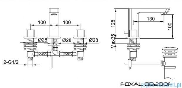 Kohlman Foxal 3-otworowa bateria umywalkowa QB200F