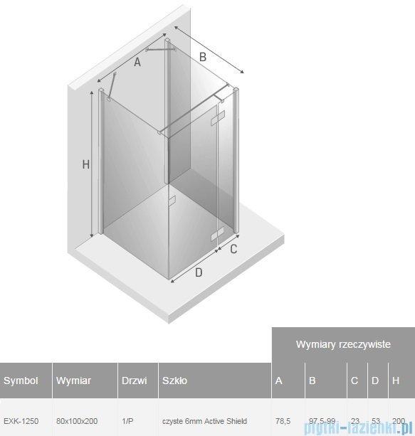 New Trendy Reflexa 80x100x200 cm kabina trójścienna prawa przejrzyste EXK-1250