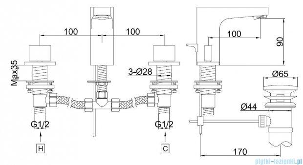 Kohlman Cexams 3-otworowa bateria umywalkowa QB200C