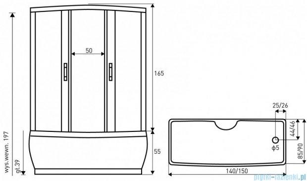 NOVOTERM kabina natryskowo-masażowa 150x90 MAXI PLUS 150