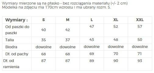 TABELA ROZMIARÓW - SUKIENKA KOKTAJLOWA - NUMOCO / POLSKA