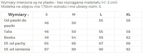 TABELA ROZMIARÓW / SUKIENKA Z  OZDOBNYMI RĘKAWAMI - NUMOCO / POLSKA