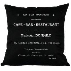 Poduszka French Home - Cafe Bar - czarna