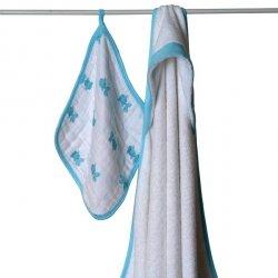 Aden + Anais - ręcznik z kapturkiem + myjka muślinowa - niebieska rybka