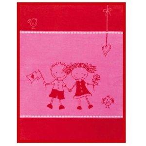 Kocyk Bocasa Kids Cotton Friends - różowo-czerwony