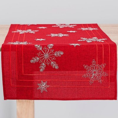 Bieżnik świąteczny CHRISTMAS - gwiazdki czerwony 55x120 cm