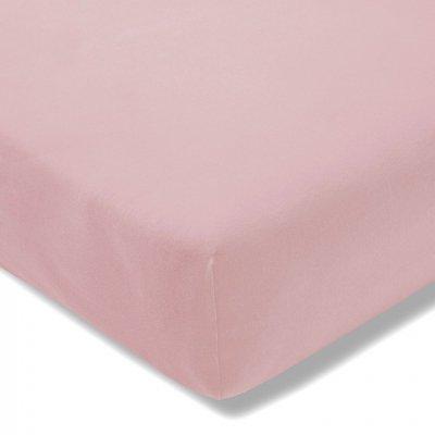 Prześcieradło ESTELLA Zwirnjersey z gumką - różowe pudrowe