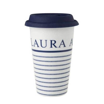 Laura Ashley BLUEPRINT - kubek COFFEE TO GO 370 ml - CANDY STRIPE