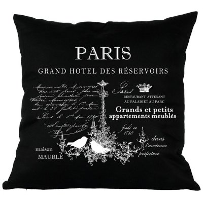 Poduszka French Home - Paris - czarna