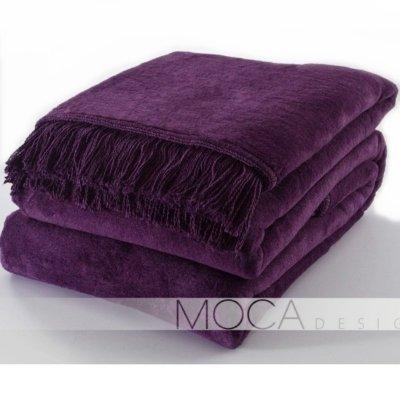 Koc Moca Design / frędzle - fioletowy