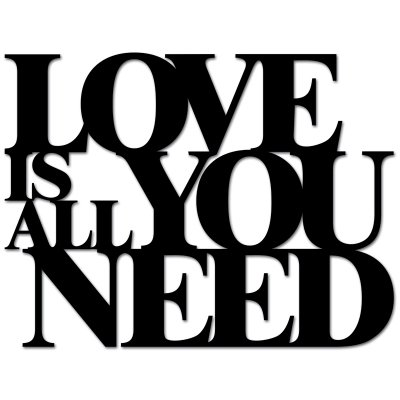 Napis na ścianę - LOVE IS ALL YOU NEED - czarny