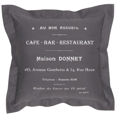 Poduszka dekoracyjna French Home - Cafe Bar - szara