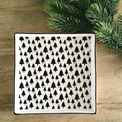 Świąteczny talerz Choinki - czarne 16,5x16,5 cm