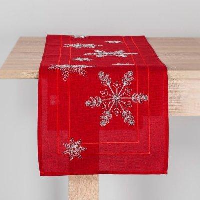 Bieżnik świąteczny CHRISTMAS - gwiazdki czerwony 32x140 cm