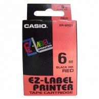 Casio taśma do drukarek etykiet, XR-6RD1, czarny druk/czerwony podkład, nielaminowany, 8m, 6mm
