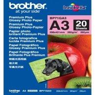 Brother Glossy Photo Paper, foto papier, połysk, biały, A3, 260 g/m2, 20 szt., BP71GA3, atrament