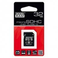 Goodram Micro Secure Digital Card + Adapter, 32GB, micro SDHC, SDU32GHC10AGRR9, Class 10 UHS I, do archiwizacji danych, nowe papie