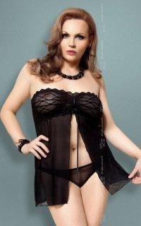 xTanya - Plus Size - black 1741 koszulka i stringi